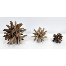 Decorative Wood Spike Ball - 10cm