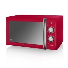 Swan Retro Manual Microwave 25 Litre 900 Watt Power - Red (Model SM22070RN)