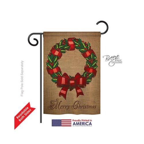 Breeze Decor 64108 Christmas Wreath 2-Sided Impression Garden Flag - 13 x 18.5 in.