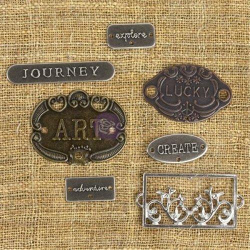 Mechanicals Metal Embellishments-Plate & Label 7/Pkg