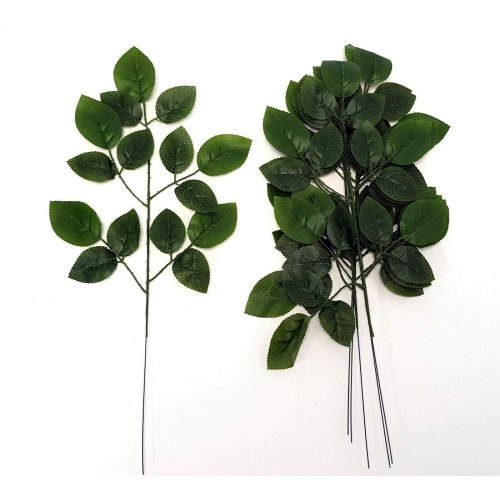 Set of 6 Artificial Rose Leaf Spray Green - 51cm - Summer & Spring Leaves