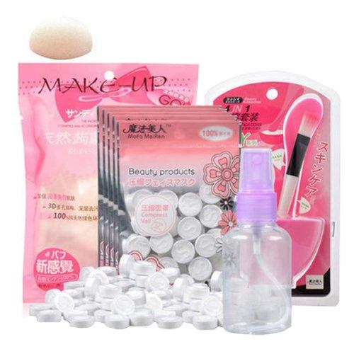 Set of 4 Skin Care DIY Compassed Facial Mask Paper Set, Pink Package