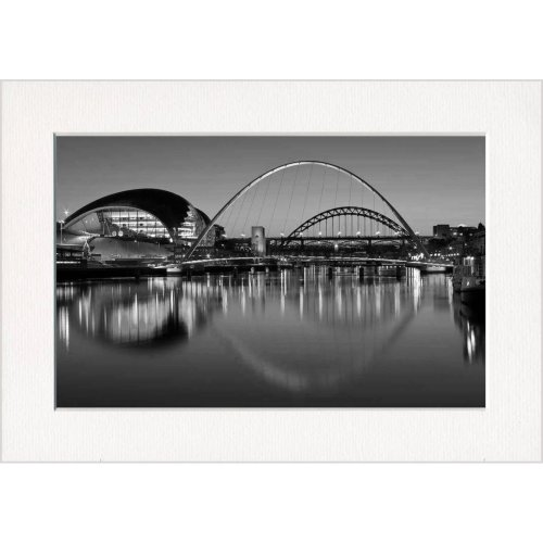 River Tyne Bridges Sunset Newcastle and Gateshead Print in a Textured Card Picture Mount to put into your own frame
