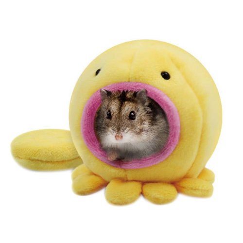 Soft Pet House with Bed Mat Winter Warm Plush Hanging Cage for Hamster YELLOW