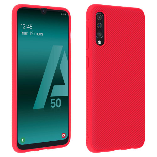 Ultra-thin soft touch shockproof carbon case for Samsung Galaxy A50 - Red