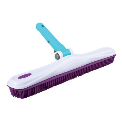 """Pool Style 16"""" Rubber Bristle Brush with Adjustable Head - Swimming Pool Brush"""