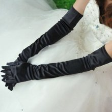 TRIXES Silk Style Elbow Length Retro Gloves in Black