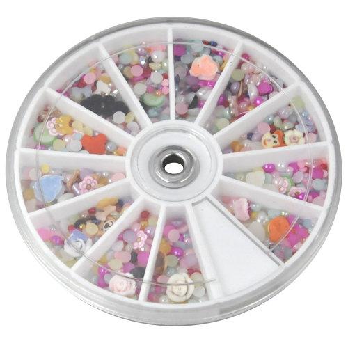 TRIXES 1200Pc Mixed Nail Art Assortment Wheel Set