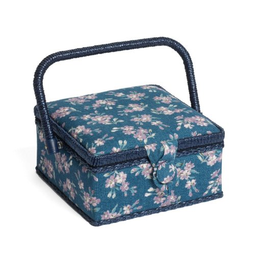 Hobbygift Classic Sewing Basket - Chambray Rose - 20cm x 20cm x 11cm