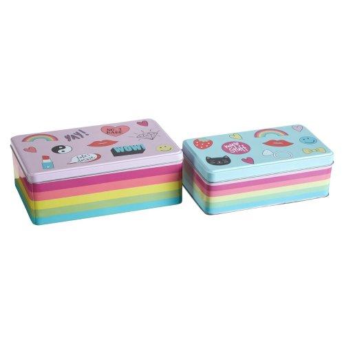 Fun Times Storage Tins, Multi-Coloured, Set Of 2