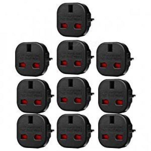 Travel Adaptor Black UK to EU Pin Convert Q4U Power Converter UK Plug To Euro Pack of 10