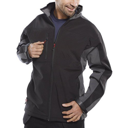 Click SSJTTBLGY3XL Soft Shell Jacket Water Resistant Breathable Fabric Fleece Lined Black and Grey 3XL