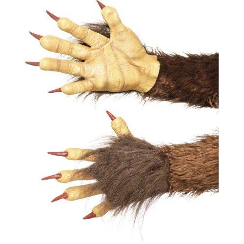 Beast / Krampus Demon Gloves, Brown, Rubber , With Fur -