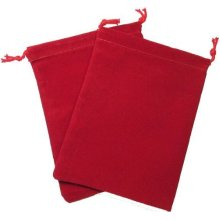 Chessex Dice: Velour Dice Bag Large (5 x 7) - RED - Holds Approximately 90-10...