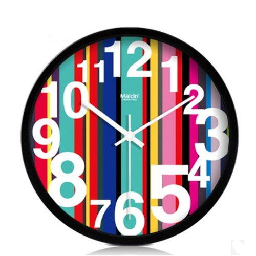 (Dark Stripes) 10-inch Silent fashion Art Pastoral Round Wall Clock (NO.017)