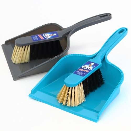 MR. SIGA Dustpan and brush set - Pack of 2, Blue & Grey