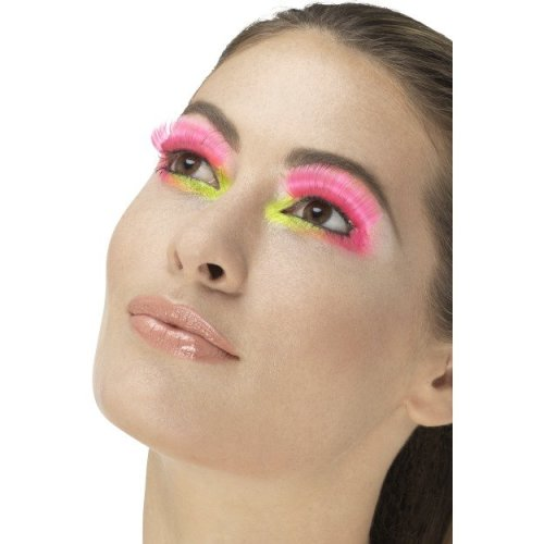 42688175444 Neon Pink Ladies 80's Party Eyelashes - ladies 80s eyelashes adults disco  party fancy dress accessory 70s fake on OnBuy
