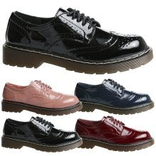 Cora Womens Flats Low Heels Lace Up Brogues Ladies Oxford Shoes Pumps Style Size
