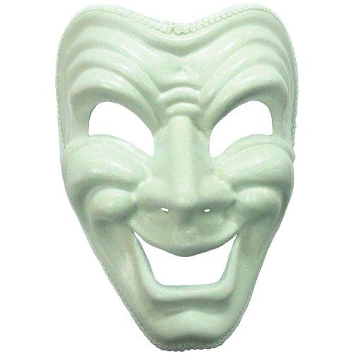 White Happy Theatrical Mask -  mask happy comedy white fancy dress headband accessory FANCY DRESS MASK WHITE PHANTOM GHOST MASQUERADE GOUL