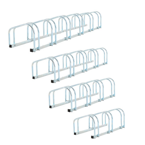 HOMCOM 5-Bike Floor Parking Stand – Silver