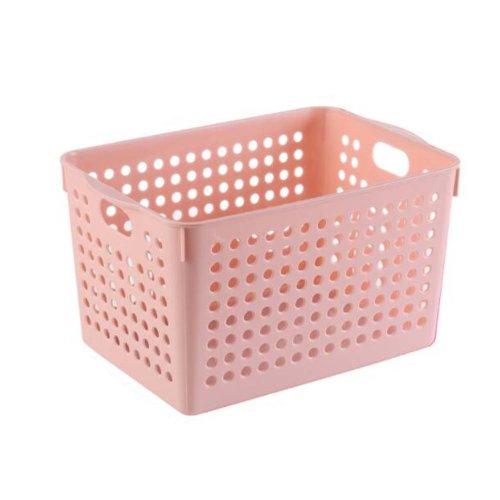 Plastic Storage Organizing Basket Closet Shelves Organizer Bins Set of 2 ?Pink?
