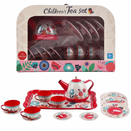 deAO 14 Piece Die-cast Pretend Role Play Tea Set & Portable Carry Case (Tea Party Playset Toy for Children-Red)