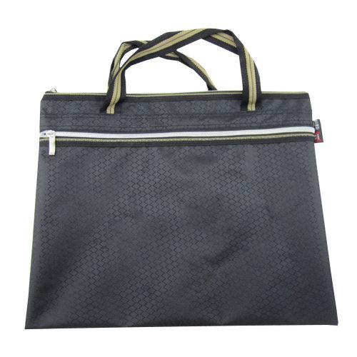 Oxford Jaquard Executive Document Bag Laptop Bag Briefcase (30.5 x 36cm) BLACK