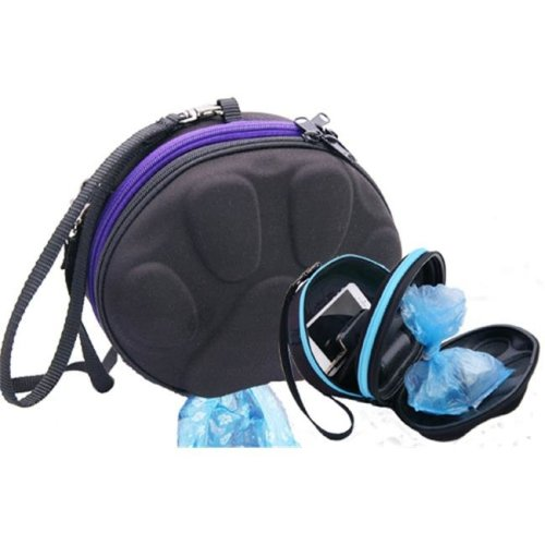 PoopPac Designs PP2-00007 Dog Walker Waste Case Black with Purple Zipper