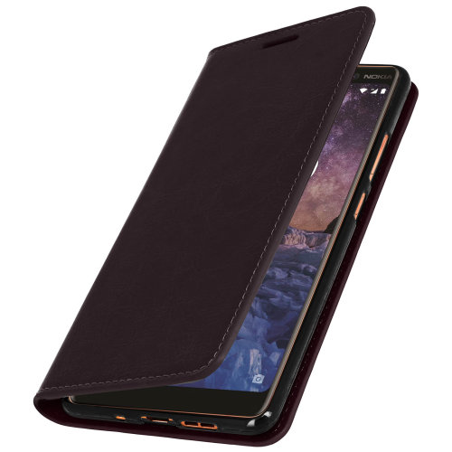 best service e8eba 187ac Business leather book case stand case for Nokia 7 Plus - Brown