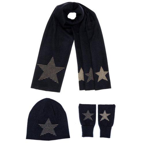 Astoria Lurex Striped Star Woollen Scarf, Hat & Gloves Set