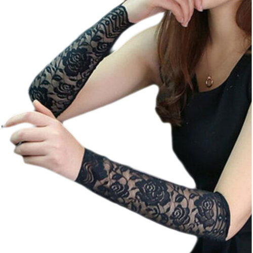 Lace Outdoor Sunscreen Clothing Women Wristbands Breathable Sun Protective Sleeves 30 CM-Black