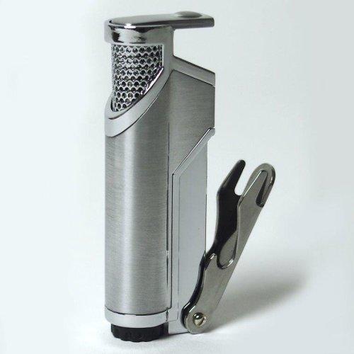 Hadson Lighter - Stylish Satin Chrome Jet Flame Gas Lighter -With Bottler Opener