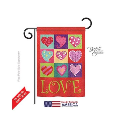 Breeze Decor 51046 Valentines Love Hearts Collage 2-Sided Impression Garden Flag - 13 x 18.5 in.