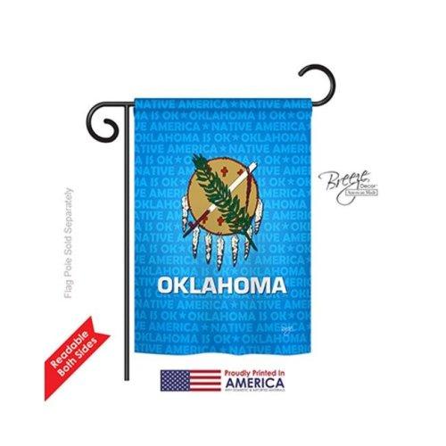 Breeze Decor 58131 States Oklahoma 2-Sided Impression Garden Flag - 13 x 18.5 in.