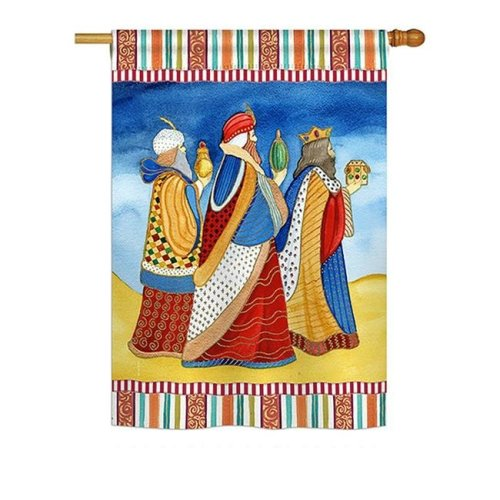 Breeze Decor BD-NT-H-114212-IP-BO-DS02-US 28 x 40 in. Seasonal Nativity Impressions Decorative Vertical House Flag - Three Wise Men Winter