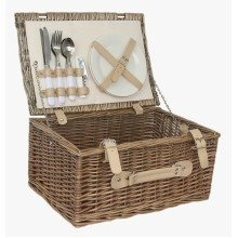 Cream Lined 2 Person Picnic Basket
