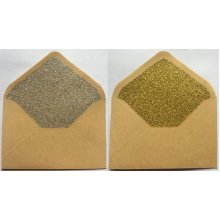 10 Glittered Craft Envelopes 10cm x 7cm Gold Silver Wedding Birthday Party Small