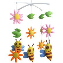 Crib Musical Mobile, [Happy Mood] Handmade Gift for Baby [Flower and Bee]