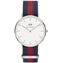 Daniel Wellington DW00100046 Fabric Watch Nato Navy Blue Red Silver Woman