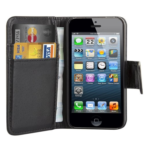 Trixes Black Pu Leather Executive Wallet Flip Case Cover Card Pouch for Apple Iphone 4 4s