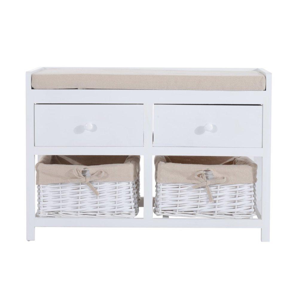 Homcom White Wooden Storage Bench | 2 Drawers u0026 2 Wicker Baskets ...  sc 1 st  OnBuy & Homcom White Wooden Storage Bench | 2 Drawers u0026 2 Wicker Baskets on ...