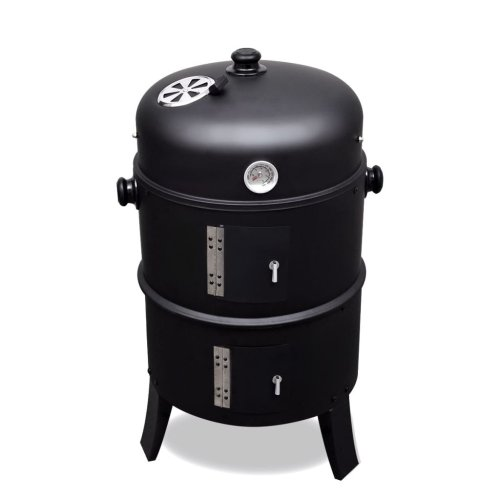 vidaXL Smoker BBQ Utah Iron Outdoor Garden Charcoal Grill Barbecue Cooking