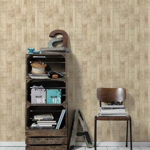 AS Creation Wood Panel Pattern Wallpaper Kitchen Bathroom Beam Tribal Motif Roll[BEIGE BROWN 330894]