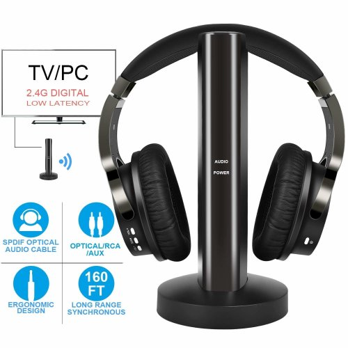 Wireless Headphones for TV Watching & PC Gaming with 2.4GHz Digital Transmitter Charging Dock, (OPTICAL DIGITAL Audio, 3.5mm AUX, RCA) Plug & Play, No Delay, 100ft Long Range, 40hrs Battery