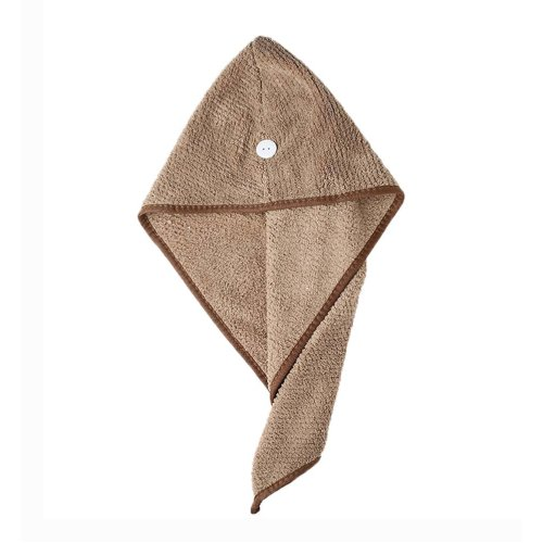 2 Packs Hair Drying Towel Microfiber Drying Towel Cap Absorbent Water, Brown