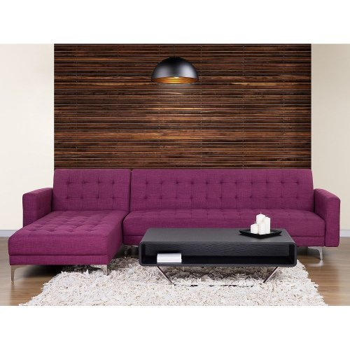 Corner sofa - Sleeper sofa - Upholstered - Violet - ABERDEEN