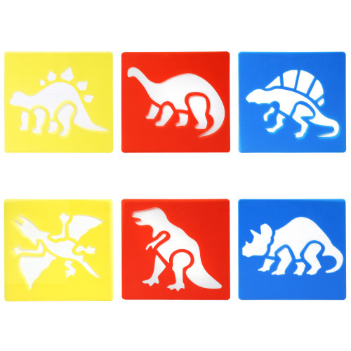 6PC Dinosaur Drawing Stencil Templates for Scrapbooking Card Making TRIXES