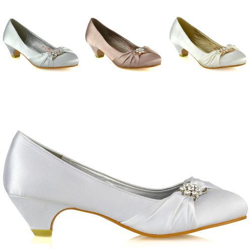 Womens Bridal Shoes Low Heel Satin Ladies Slip On Diamante Bridesmaid Pumps Courts