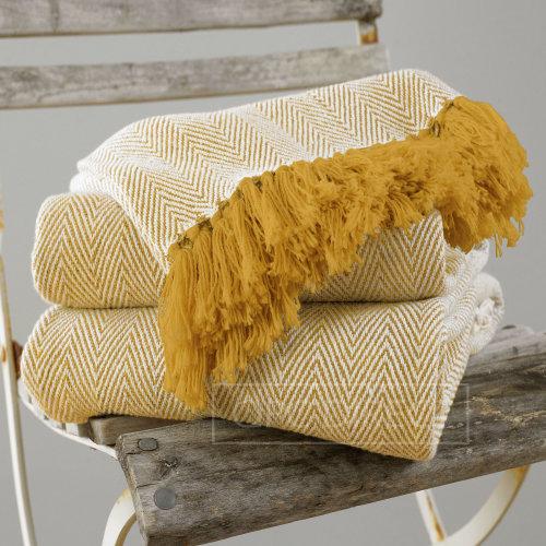 100% Cotton Herringbone Tassel Furniture Chair Sofa Throw, Mustard Ochre Yellow
