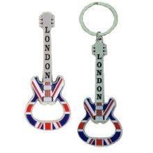 London Union Jack Guitar Botttle Opener Fridge Magnet Keyring UK Flag Souvenir